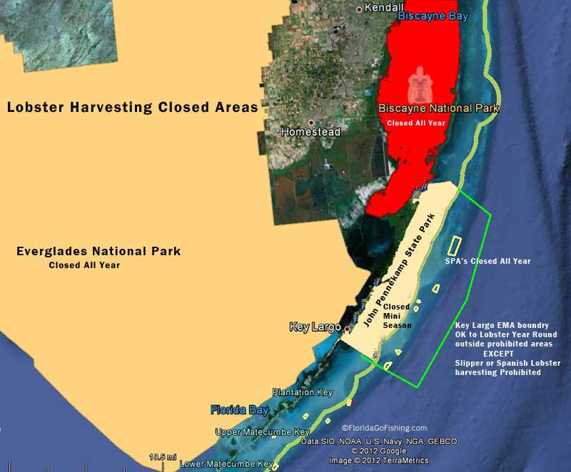 Chart of closed area during Florida Lobster Mini Sport Season