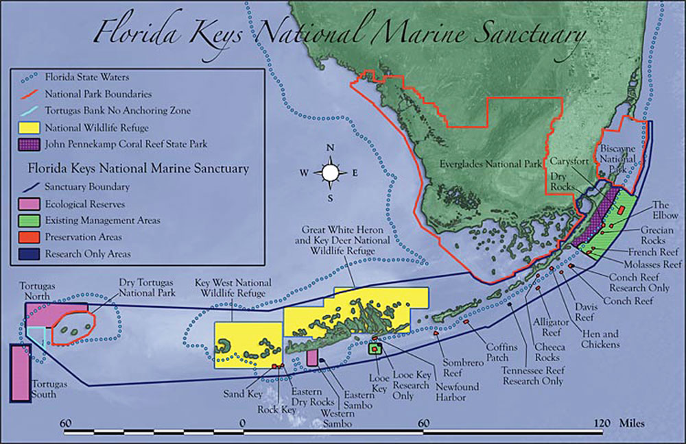Map of the FL Keys showing marine zones