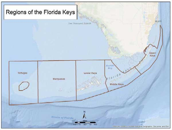 chart showing the regions of the keys, upper, middle, lower, marquasis, tortugas