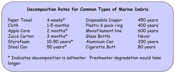 Chart showing how long items take to decompose in salt water